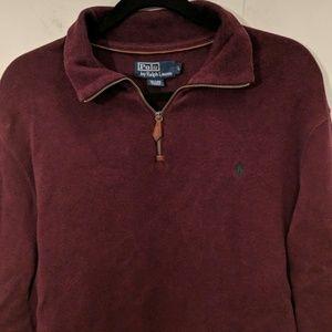 Ralph Lauren 1/4 Zip Red Cotton Sweater Size L